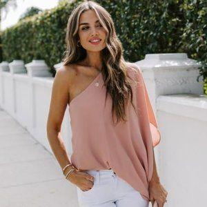🆕 | blushing babe asymmetrical blouse |